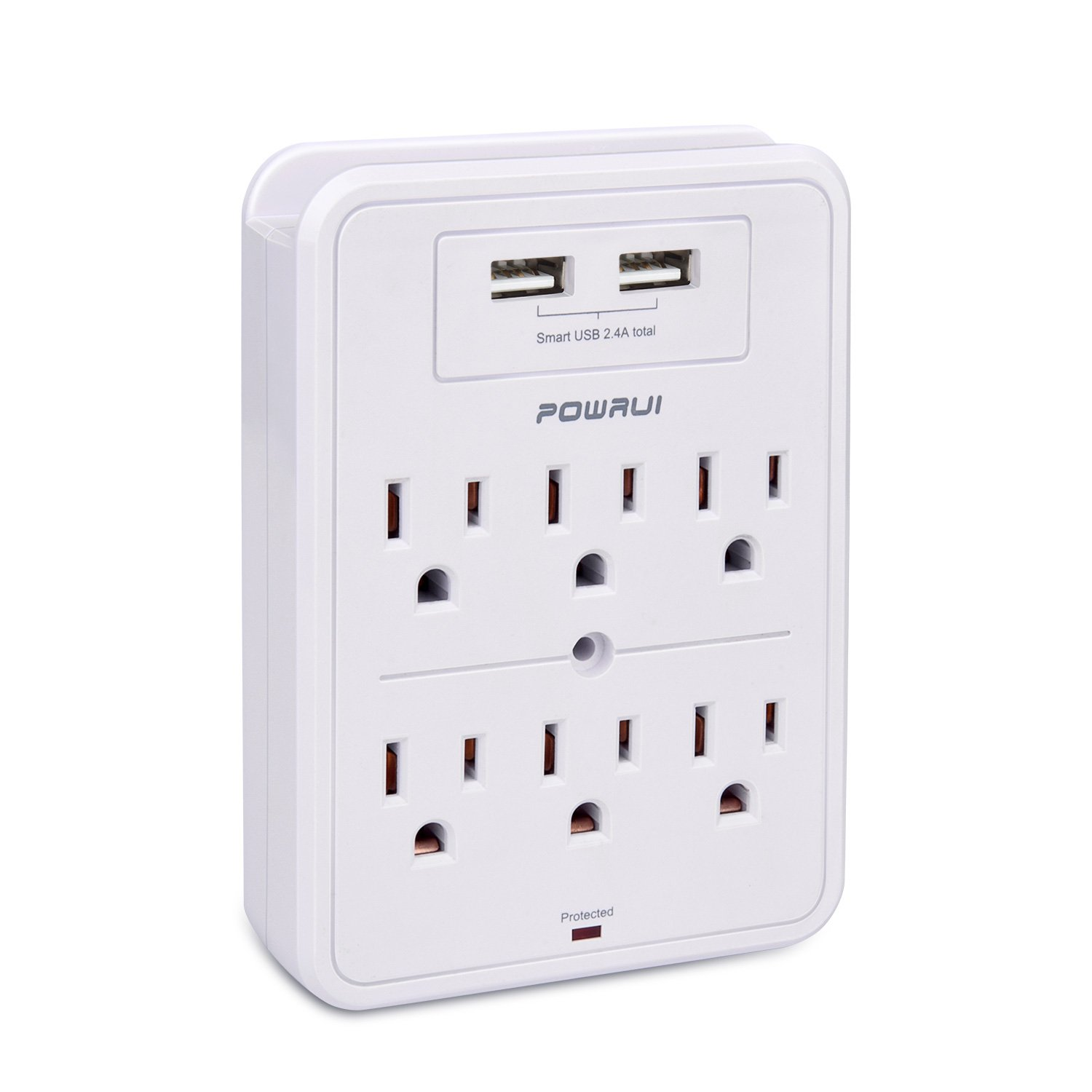 Surge Protector, POWRUI USB Wall Charger with 2 USB charging ports(smart 2.4A Total), 6-Outlet Extender and Top Phone Holder for iPhone iPad and more, White, ETL Certified