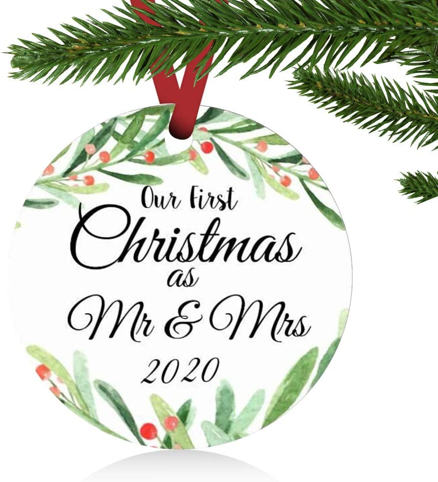 "ZUNON First Christmas Ornaments 2020 Our First Christmas as Mr & Mrs Couple Married Wedding Decoration 3"" Ornament (Green Mr & Mrs)"