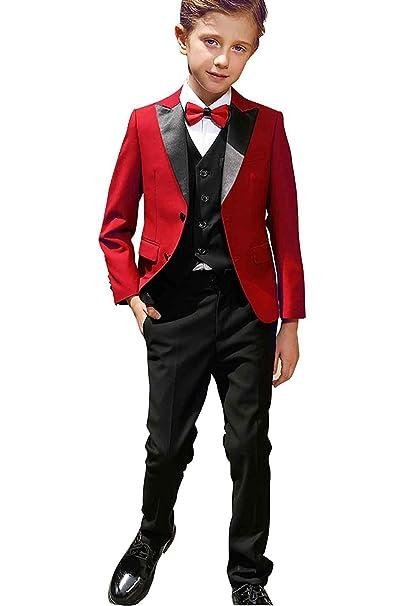 Amazon.com: Boys Red Suits Set 3 Piece Size 2T-18 Slim Fit ...