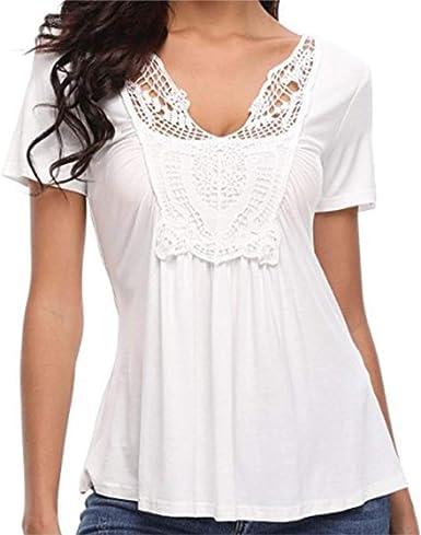 Omgaa Camisa de Las Mujeres del Club de Ganchillo de Compras Acanalada Frente Cuello: Amazon.es: Ropa y accesorios