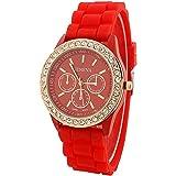 PromiseU Women's Silicone Band Jelly Gel Quartz Wrist Watch