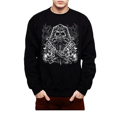 AvocadoWear Egyptian Pharaoh Gas Mask Smoke Men Sweatshirt Black S