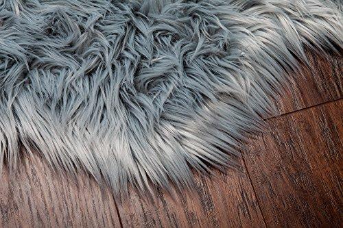 Chanasya Super Soft Faux Fur Fake Sheepskin Gray Sofa
