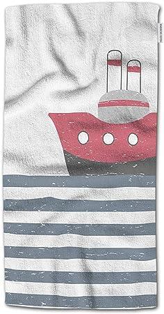 W Wishes Serviette De Bain Mer Dessin Anime Drole Avec Bateau Coucher De Soleil Serviette Design Enfantin Serviette Pour Le Visage Amazon Fr Cuisine Maison