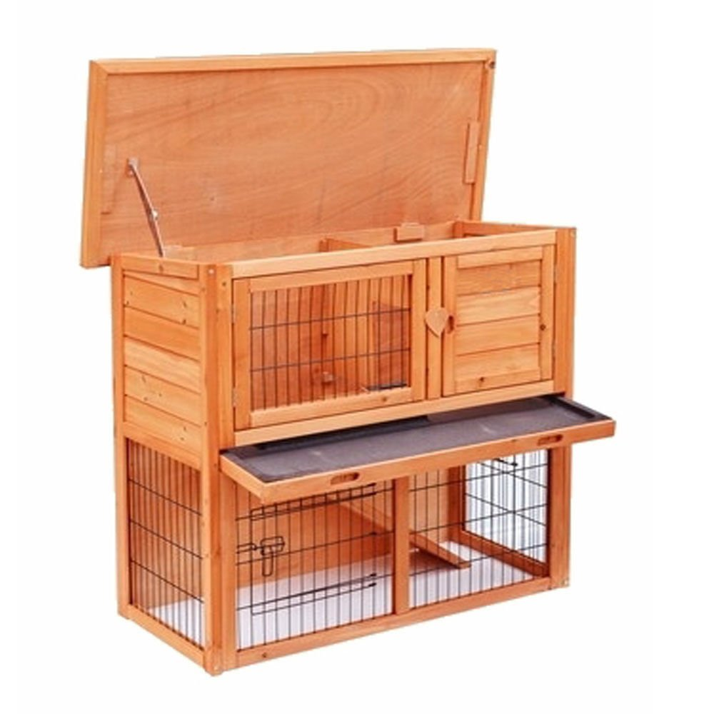 Marketworldcup - 36'' 40'' 48'' Wooden Rabbit Hutch Chicken Coop Hen House Poultry Pet Cage (36'' 2 Tiers Rabbit House)