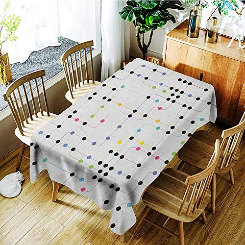 GUUVOR Colorful Leakproof Polyester Long Tablecloth Metro Scheme with Vivid Colored Intricate Lines and Dots Urban Life Transportation Outdoor and Indoor use W54 x L84 Inch Multicolor