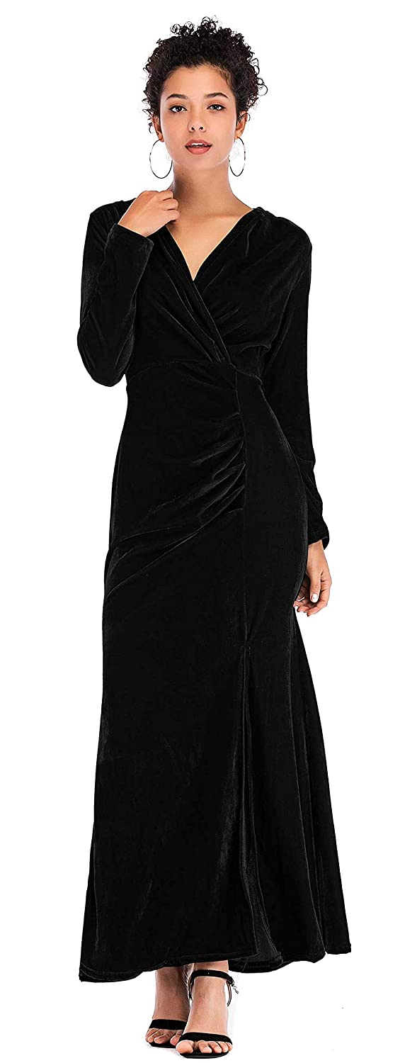 1940s Formal Dresses, Evening Gowns History Babalet Velvet Winter Formal Dress Maternity Velvet Dress Long Sleeve Bridesmaid Maxi Dresses Evening Gown $36.99 AT vintagedancer.com