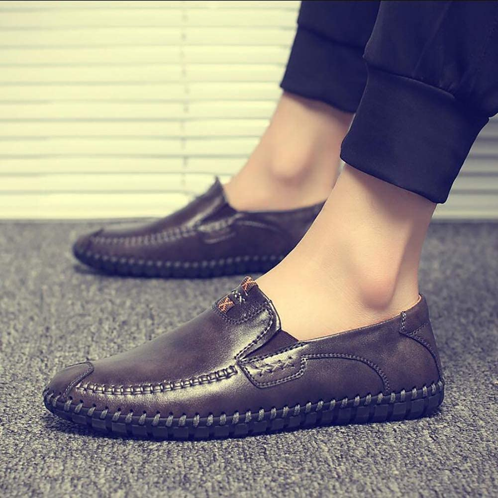 Mens Driving Shoes Car Slip On Casual Leather Loafers Shoes Comfy Lightweight Round Toe Shoes for Formal Business Work