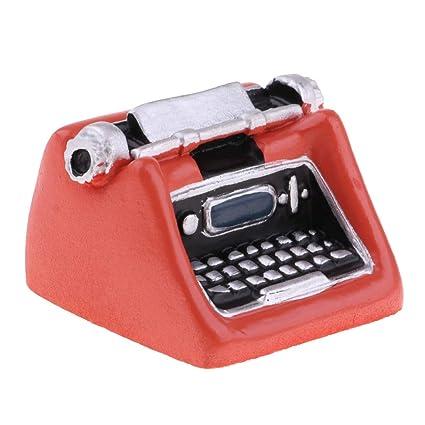 KESOTO Miniatura Vintage Máquina de Escribir Artesanías Modelo Decoración para 1:12 Dollhouse - Naranja