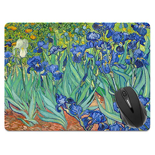 (Extra Large (X-Large) Size Non-Slip Rectangle Mousepad, FINCIBO Irises Vincent Van Gogh Mouse Pad for Home, Office and Gaming Desk)