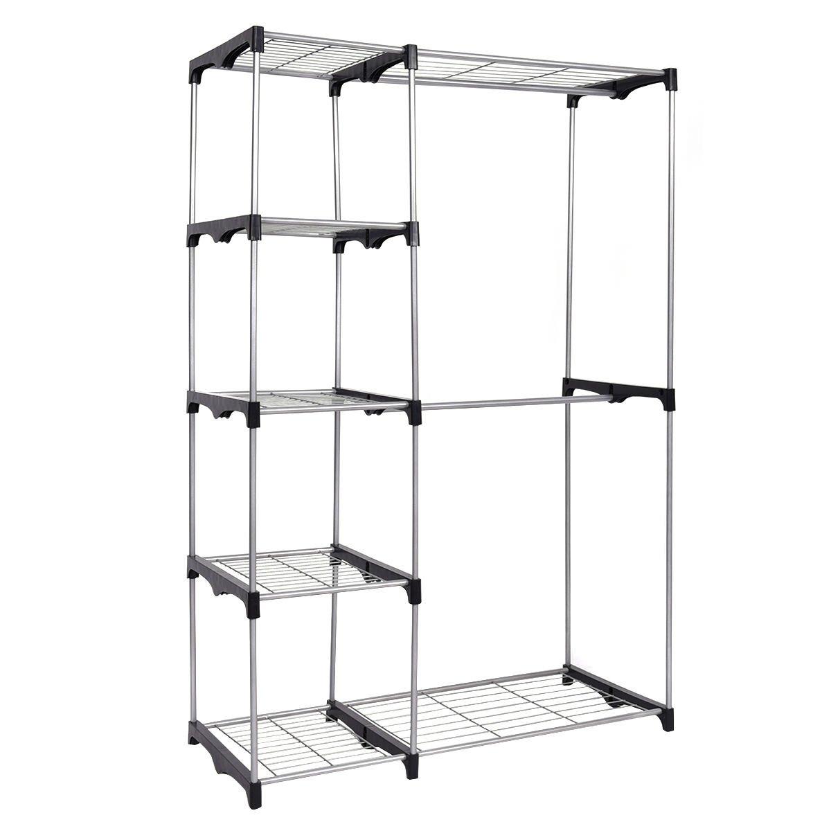 Closet Organizer Storage Rack Portable Wardrobe Garment Hanger Double Rod Shelf by Unknown