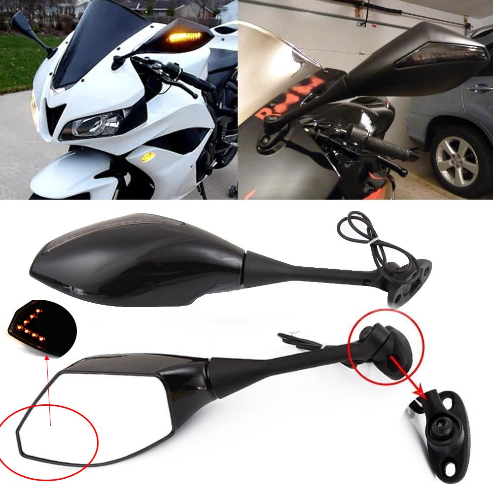 Motorcycle LED Turn Signal Rearview Mirrors with Arrow For Sport Bike Honda CBR600RR 2003-2011 CBR1000RR 2004-2007 by Rich Choices