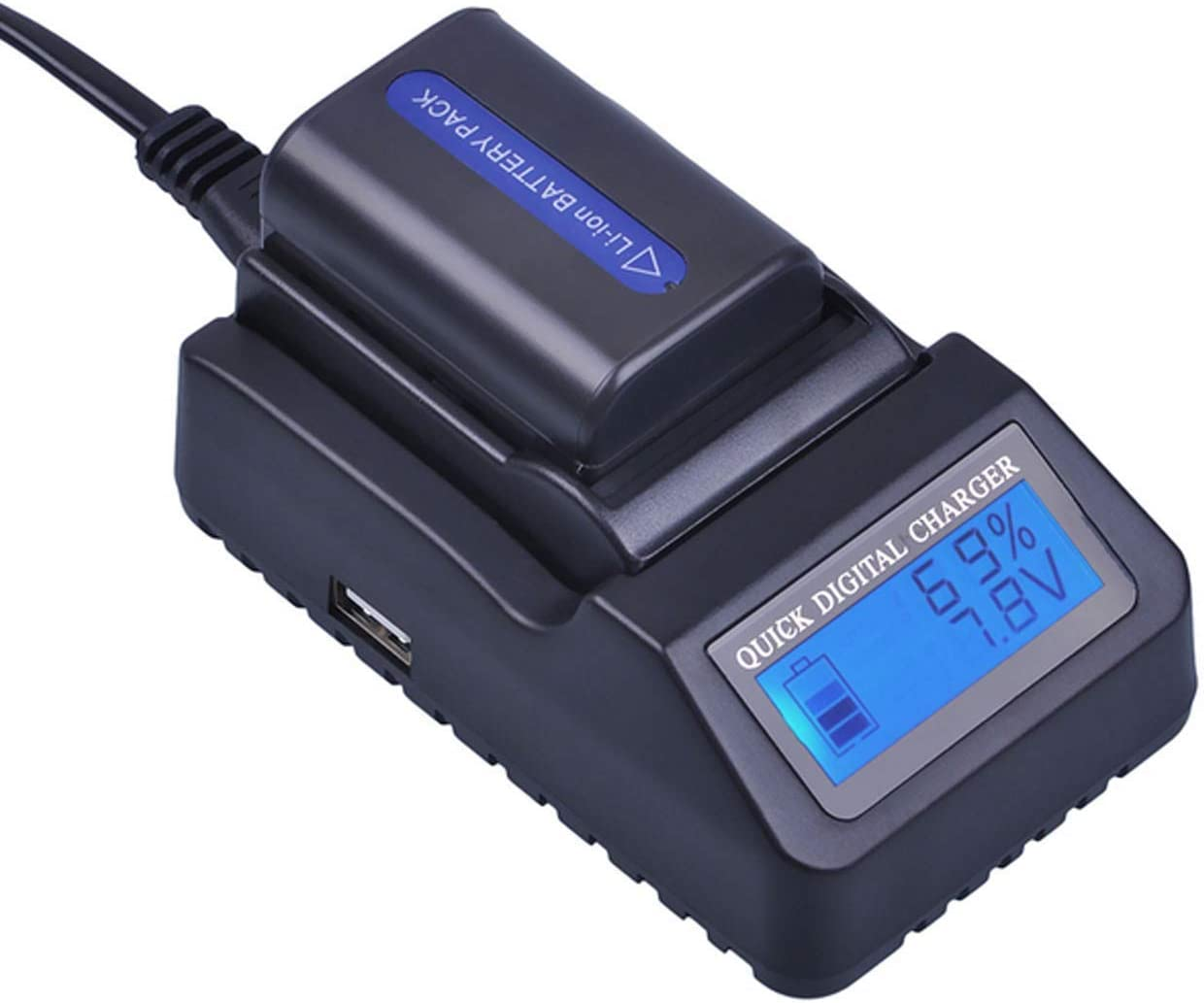 USB Dual Battery Charger for Sony DCR-TRV740 DCR-TRV940 Handycam Camcorder DCR-TRV840