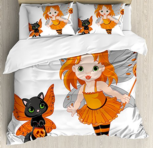 Halloween Queen Size Duvet Cover Set by Ambesonne, Halloween Baby Fairy and Her Cat in Costumes Butterflies Girls Kids Room Decor, Decorative 3 Piece Bedding Set with 2 Pillow Shams, (Teen Butterfly Queen Costumes)
