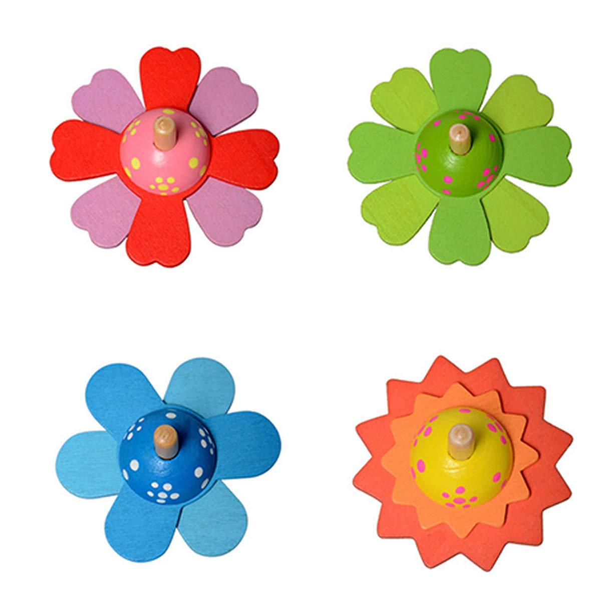 Ruikey Toupie en Bois,Forme de Fleur,Spinning Top Jouet Faite /à la Main Painted popur Enfant Adultes