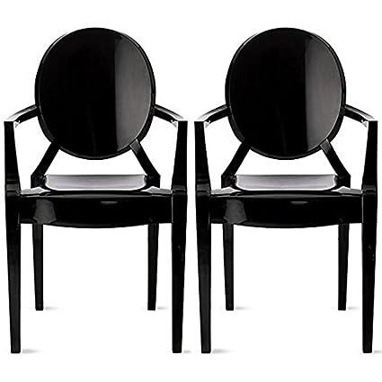 Peachy Amazon Com 2Xhome Set Of Two 2 Black Louis Style Ghost Spiritservingveterans Wood Chair Design Ideas Spiritservingveteransorg
