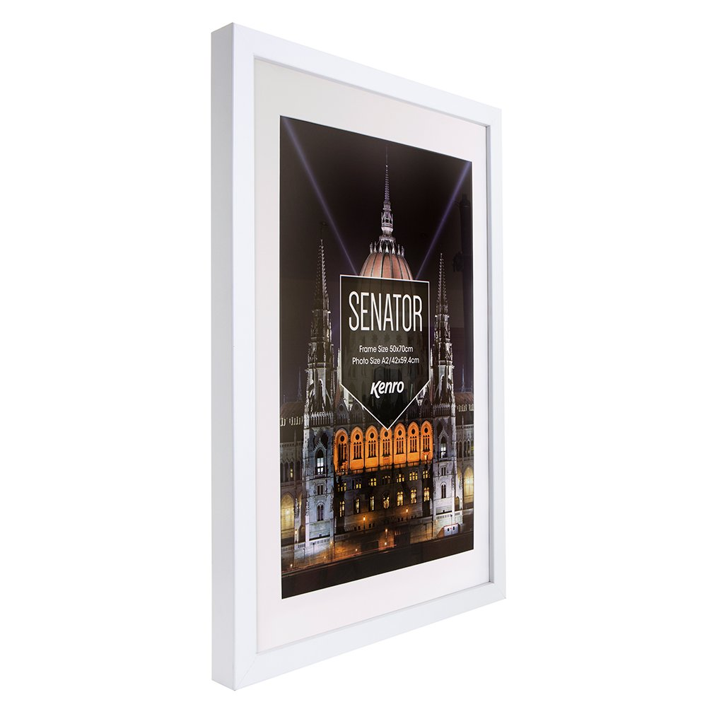 Kenro Senator Series White Wood Poster Frame A1 with White Mat for ...