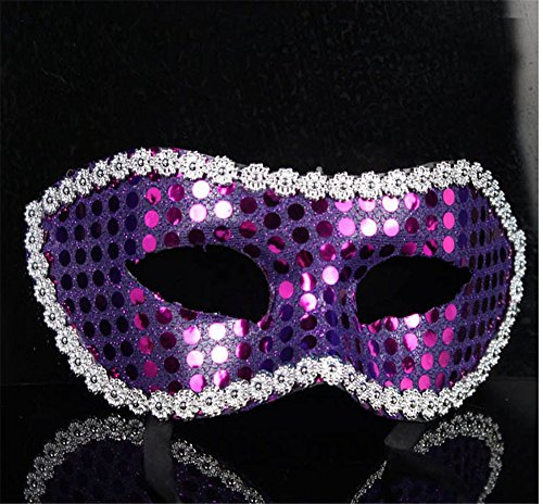 Mardi Gras Party Masquerade Mask,Flat Head Sequins Bukatan with lace Men's and Women's Masks Sequined Sequins for Halloween Party Makeup Dance mask Purple Prom - Sequined Mask