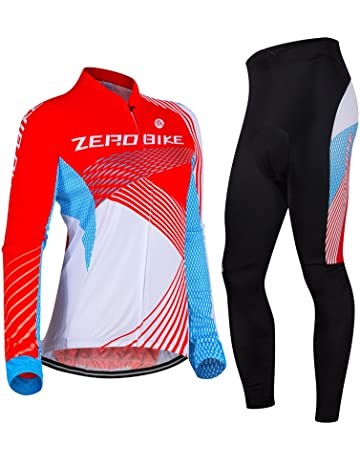 ZEROBIKE Women s Breathable Long Sleeve 3D Gel Padded Bicycle Cycling Suit  Mesh Cloting Pants Set UV 772f1670e