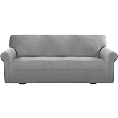 Easy-Going Stretch Sofa Slipcover Sofa Cover Furniture Protector Couch Soft with Elastic Bottom Anti-Slip Foam Kids,Polyester Spandex Jacquard Fabric Small Checks(Sofa,Light Gray)