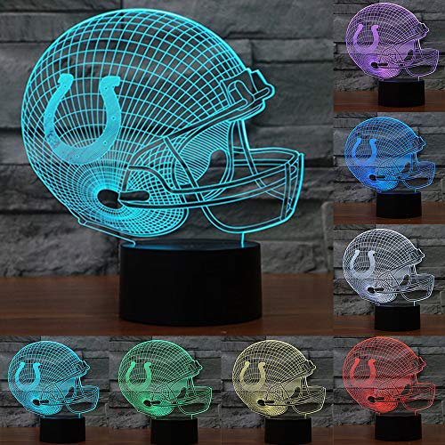 (Football Cap Team Logo 3D Lamp Table NightLight 7 Color Change Football LED Desk Light Touch Multicolored USB Power As Home Decoration Lights Tractor for Boys Kids (Touch) (Indianapolis Colts))