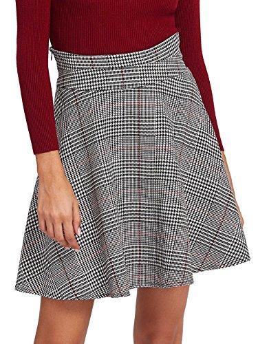 MakeMeChic Women's Casual Plaid Skater Flared Mini Skirt Grey S