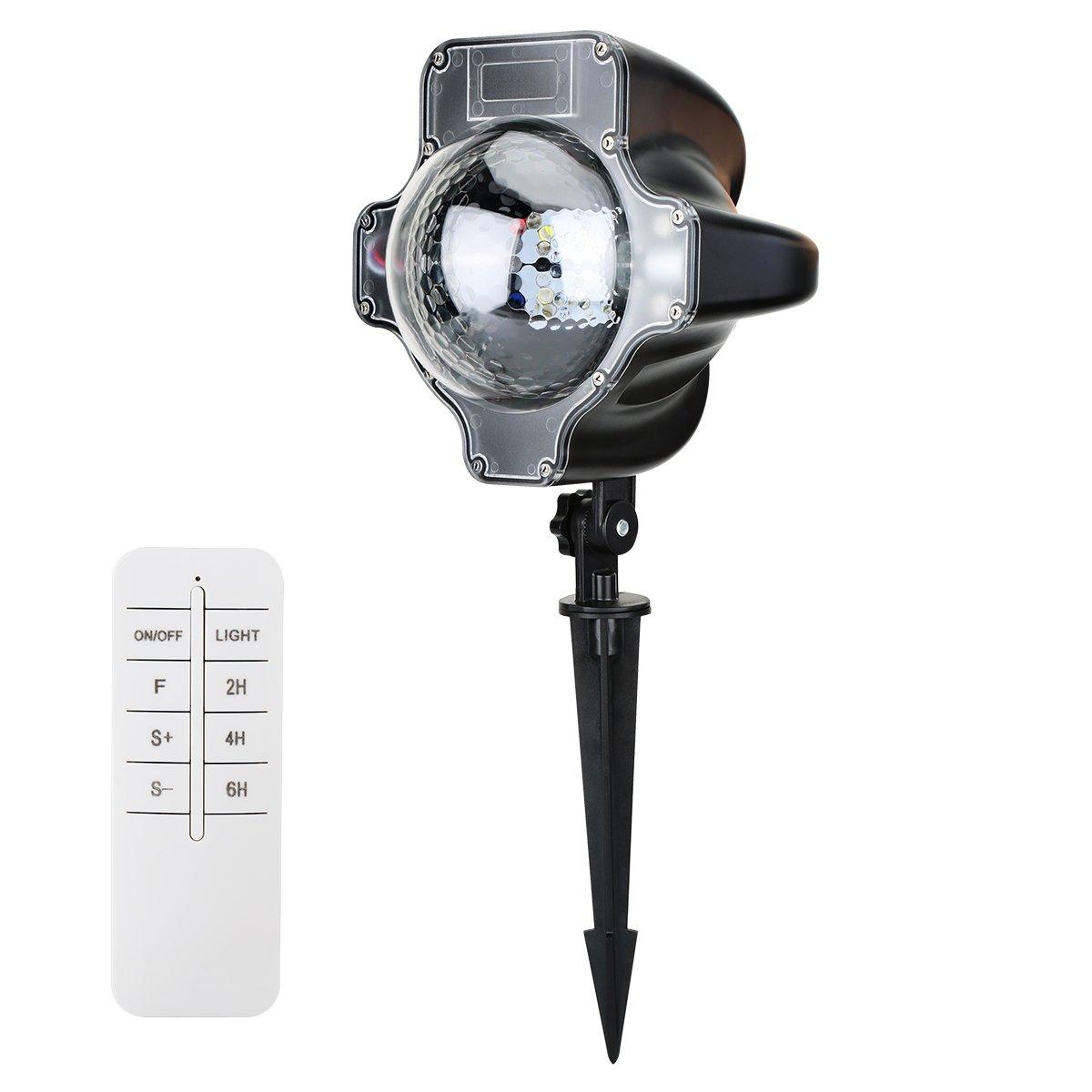 ALWOA LED Snowfall Light, Rotatable Snowflake Projector Lamp Specially Designed Waterproof Landscape Decoration Li