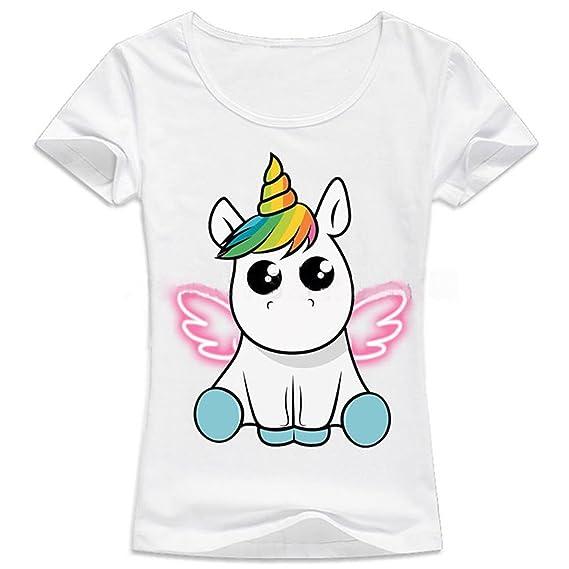 Mujer Unicornio Camiseta de Verano Manga Corta T Shirt Tops Casual De Moda Cuello Redondo Blusas Blanco: Amazon.es: Ropa y accesorios