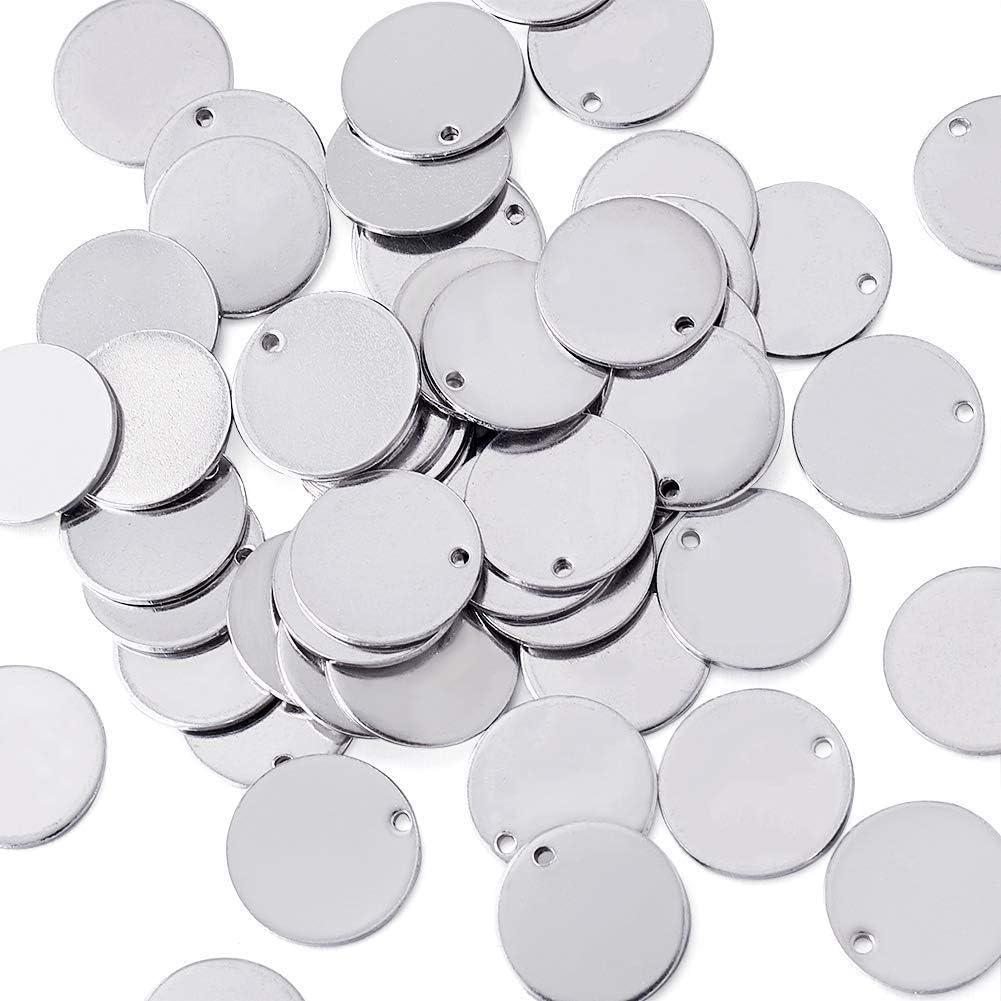 PandaHall 50 piezas de acero inoxidable plano redondo estampado en blanco etiqueta colgantes 23x1mm Metal etiquetas en blanco encantos para fabricaci/ón de joyas DIY