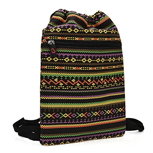 KroO Tablet Drawstring Bag Sleeve fits Kindle Fire Voyage, HD 6, HDX 7, HD 8.9 Keyboard 3G, Multi-colored Abstract Tribal