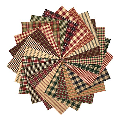 Country Quilt Fabric - 40 Rustic Christmas Charm Pack, 5 inch Precut Cotton Homespun Fabric Squares by JCS