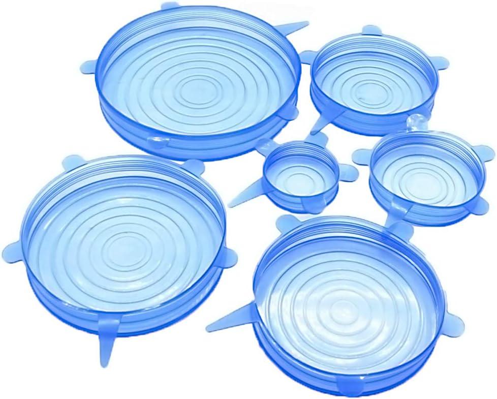CuiGuoPing - Tapadera redonda de silicona (6 unidades, reutilizable) azul: Amazon.es: Hogar