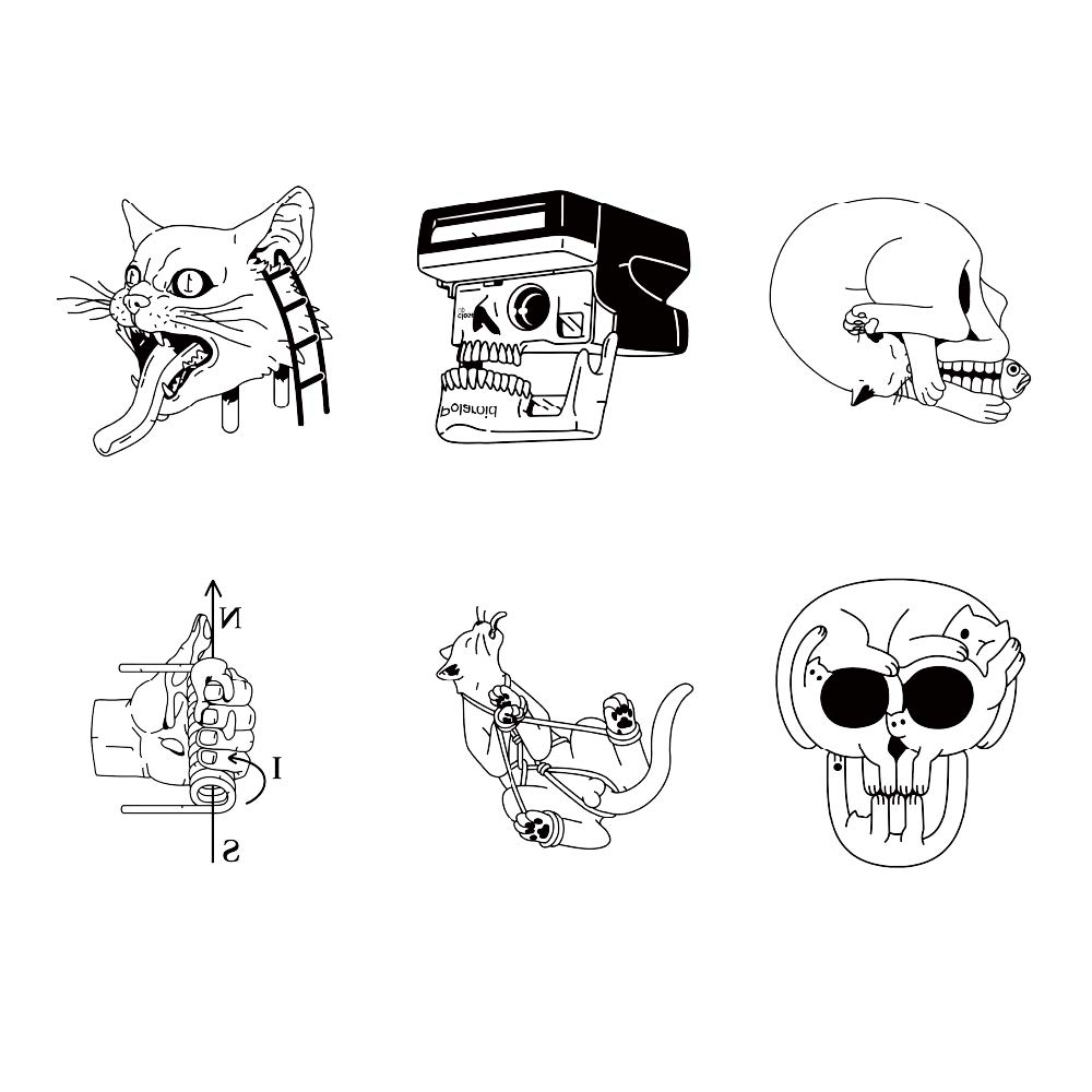 12 Creative Design Temporary Tattoos by Inktells 2020 new,Waterproof Removable fake tattoos for Women Men Adult Kids Boys Girls,Neck Back Arm Hand Stickers about Amimal Cat Skull Bone Snake(4 sheets)