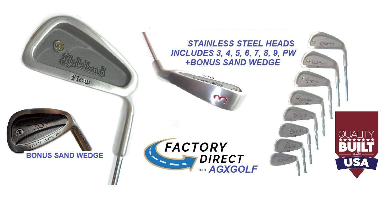 AGXGOLF Men's Leaderboard Right Hand Cadet (-1'') Length Wide Sole Stainless Steel Irons Set; 3-PW w/Free Sand Wedge Built in The U.S.A by AGXGOLF