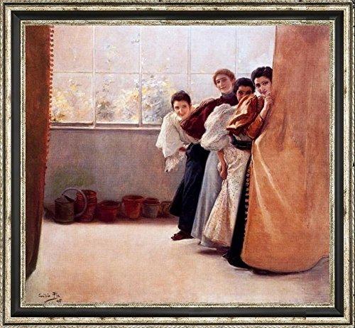 escondidas-by-cecilio-pla-y-gallardo-15-x-15-framed-canvas-art-print-ready-to-hang