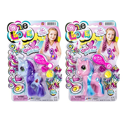 - Set of 3 Unicorn Doll Set with Brush and Clips, Assorted Colors