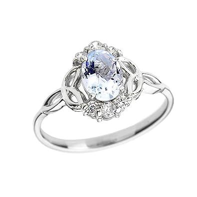 fbdf2ee5fe0 Aquamarine and Diamond 10k White Gold Trinity Knot Proposal Ring(Size 4)