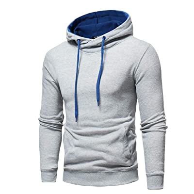 HDGTSA Men's Hoodie Solid Hooded Sweatshirt Long Sleeve Casual Outwear Tops Blouse at Men's Clothing store