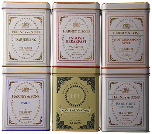 Harney & Sons Variety Pack Premium Sachets, 6 Flavors, 20 Tin Sachets Each by Harney & Sons