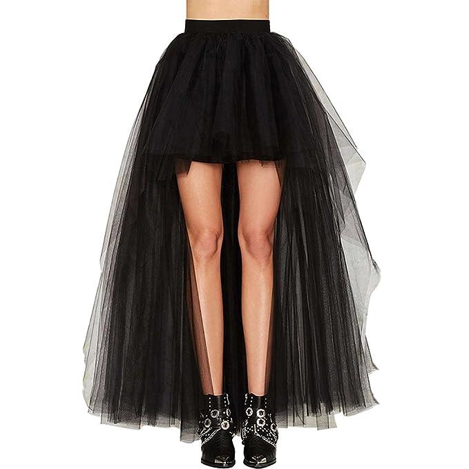 0c837bacff Lannister Fashion Faldas Mujer Verano Tallas Grandes Elegante Celebración  Tamaño Largo Delantero Corto Tul Party Moda Woman Irregular Coctel Negro  Falda ...
