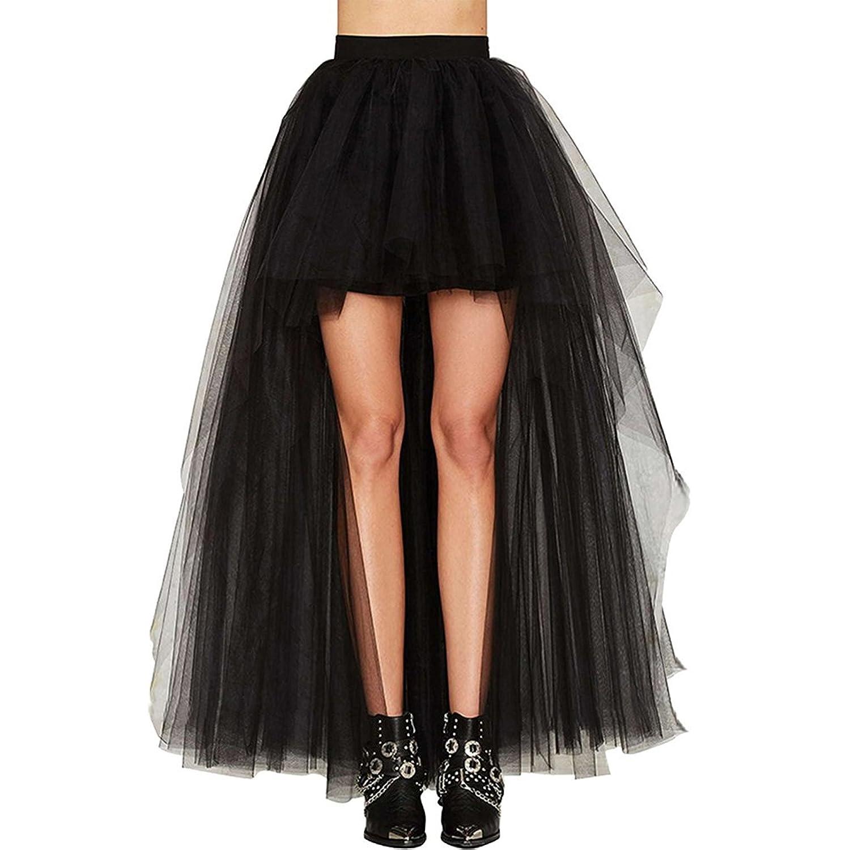BOLAWOO Faldas Mujer Verano Tallas Grandes Elegante Celebración Tamaño Largo Delantero Corto Tul Party Moda Woman Irregular Coctel Negro Falda