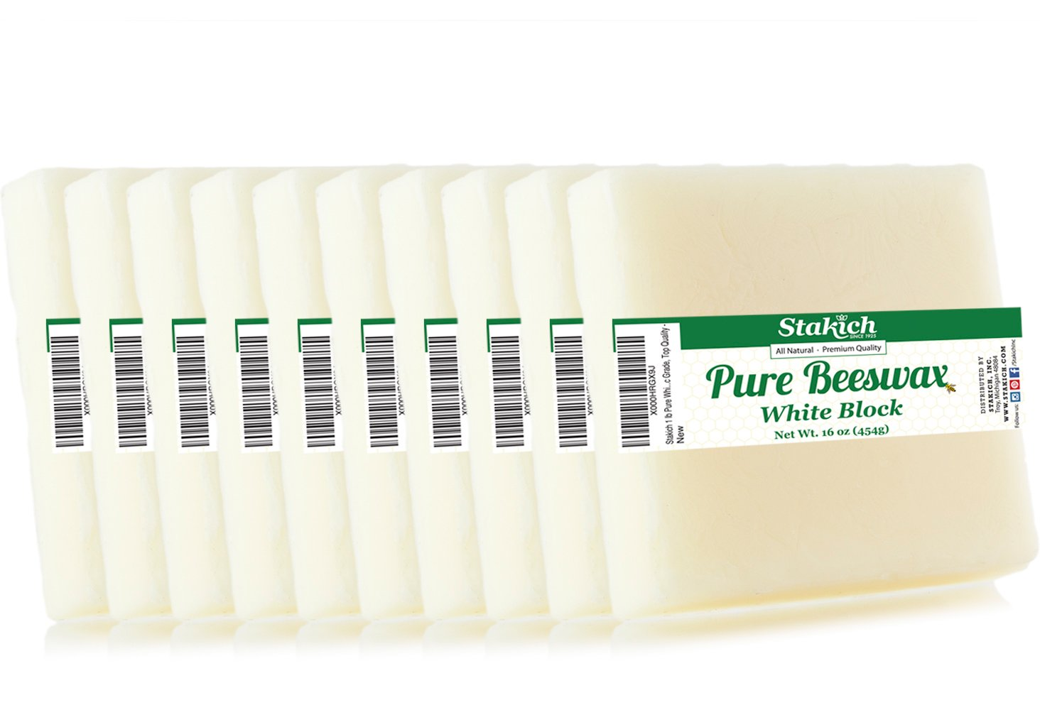 Stakich Pure White BEESWAX Blocks - 100% Natural, Cosmetic Grade, Premium Quality - 10 lb (in 1 lb blocks) by Stakich (Image #1)