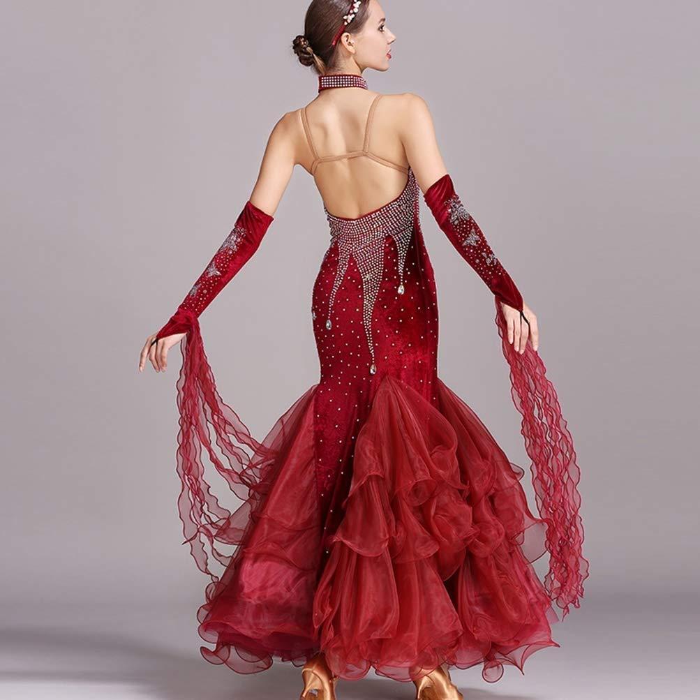 National Standard Ballroom Dance Dance Dance Kleider Für Frauen Wettbewerb Dancewear, Stickerei Strass Lange Ärmel Walzer Tango Dance Kostüm B07QH61P28 Bekleidung König der Quantität d26c2e