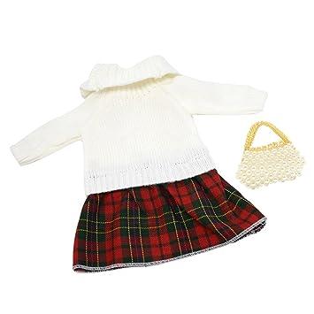 Homyl Vestido de Invierno de Manga Larga + Bolso para 18 Pulgadas Americana Muchcha Doll