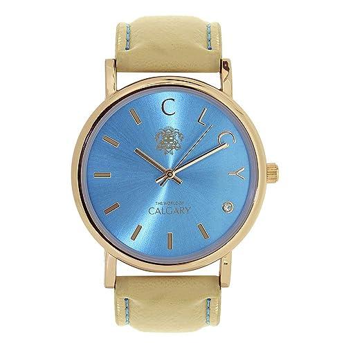 Relojes Calgary Golden Bay Watches Esfera Azul Turquesa con Correa Crema: Amazon.es: Zapatos y complementos