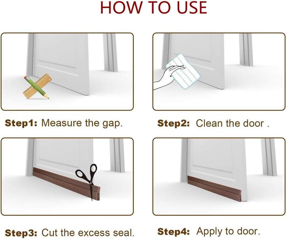 2 Pack Door Draft Stopper Under Door Sweep,ZROSIN Best DIY Door Bottom Seal Strip Weather Stripping,Keep Cold//Heat Out,Energy Saver,Strong Adhesive Threshold Sweep Seal 2 Width X 39 Length-Brown