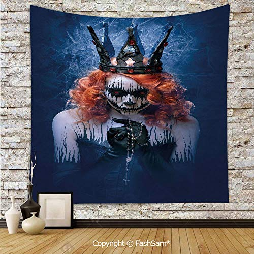 (Polyester Tapestry Wall Queen of Death Scary Body Art Halloween Evil Face Bizarre Make Up Zombie Hanging Printed Home)