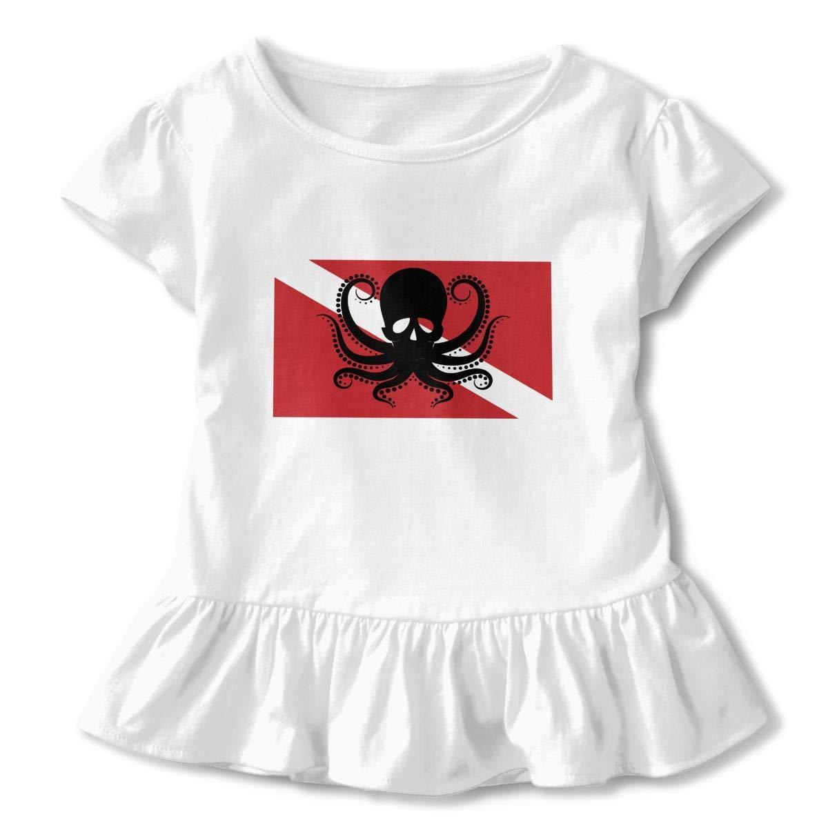 Skull Octopus Dive Flag Cute Short Sleeve Clothes for Boy Girl Dress Cotton T-Shirt Unique Bodysuit Romper,One-Piece Jumpsuit