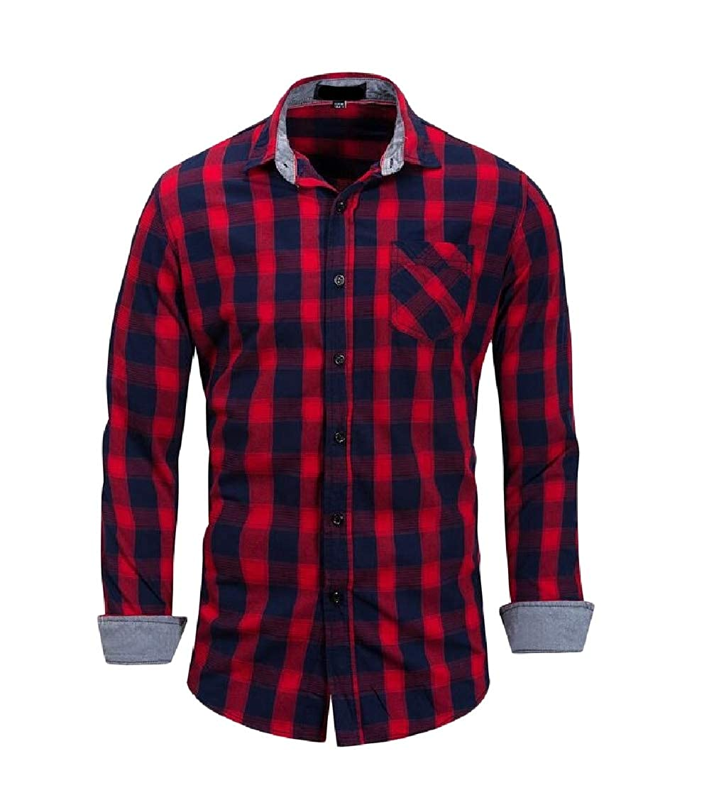 Hajotrawa Mens Long-Sleeve Plaid Plus Size Cotton Button-Down Slim Shirts