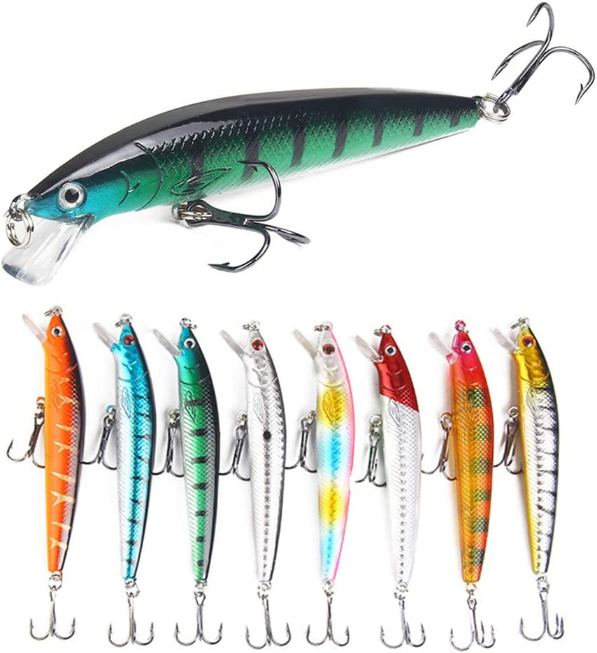 ROZKITCH 8 Pcs Fishing Lures Minnow Lures Topwater Baits Jigs Set for Bass Trout Salmon Saltwater/FreshwaterMinnow Fishing Baits Kit, Length 3.9 Inches : Sports & Outdoors